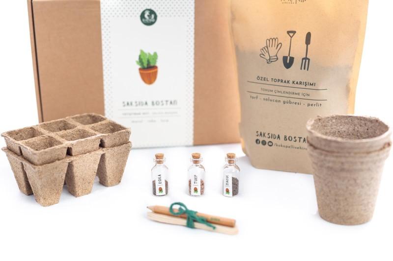 Kokopelli Şehirde Saksıda Bostan-salata Bahçem Saksıda Bostan setinde yeni bir başlangıç için gerekli her şey var. Kitin içerisinde, turp, marul ve roka tohumlarını gönderiyoruz.
